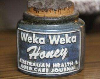 Vintage 1980's WEKA WEKA  Honey  Jar with cork lid