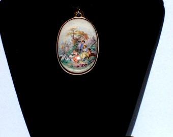 Vintage 22k Victorian Hand Painted Beautiful Porcelain Pendant.