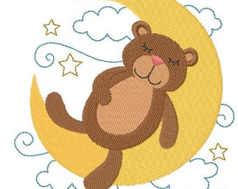 Sleepy Teddy Bear on Moon Embroidered on Hand Towel or Tea Towel - LITTLE DREAMERS
