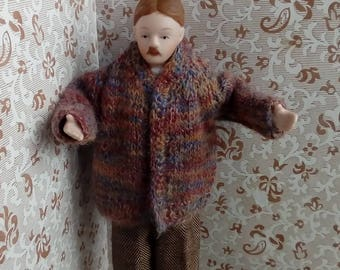 1/12th scale hand knitted man's jacket in mohair/shetland wool