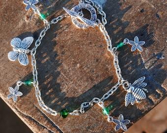 Spring/nature themed charm bracelet