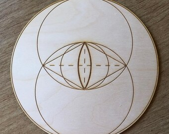 Vesica Piscis Crystal Grid - Two Circles - 3, 6, 9, or 12 Inches - Wooden Crystal Grid - Sacred Geometry - Wood Crystal Grid