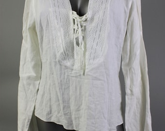 Boho Blouse - White Bohemian Blouse - Festival White Blouse - Long Sleeve Summer Blouse - Retro Bohemian - Boho