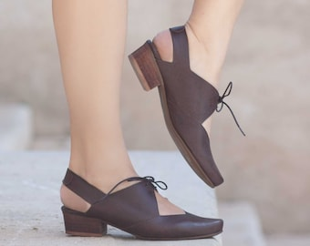 Women Leather Sandals, Heeled Sandals, Brown Leather Sandals, Summer Shoes,  Heels,