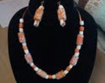 Orange and White Necklace and Earring set