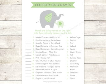 celebrity baby names matching game card printable elephant baby shower bright green elephants baby shower digital games - INSTANT DOWNLOAD