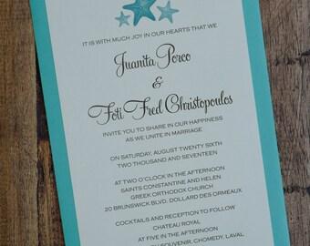 Cactus Invitation, Starfish Wedding  invitation, Destination Invitations, Palm tree Wedding Invitations, Starfish Invitation