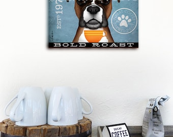 Boxer dog Coffee Company advertising style artwork on gallery wrapped canvas design by stephen fowler