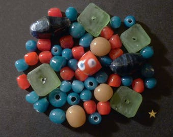 Made of blue, red, green Indonesian glass beads