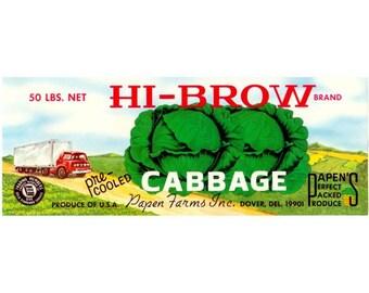 HI-BROW Delaware Cabbage Crate Label