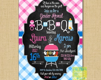 Gender Reveal BABYQ Invitation, BBQ shower invitation, Gender reveal BBQ invitation, boy or girl bbq invitation, pink blue babyq invitation