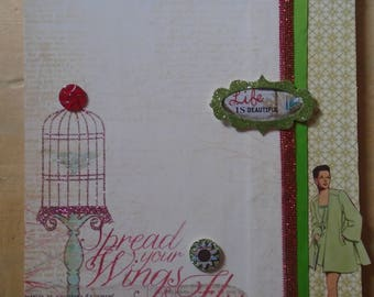 Altered Fashion Flower and Bird Clipboard