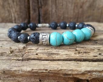 Turquoise and Lava Rock Bracelet, Gemstone Bracelet, December Brthstone, Beaded Bracelet, Chackra Bracelet, Healing Bracelet, Gift for Him