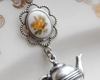 50% Off Time for Tea, Cameo and Teapot Necklace, Yellow Rose Garden