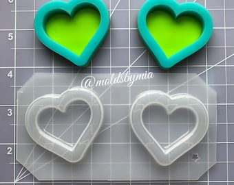ON SALE New Hearts frame shakers flexible plastic resin mold set ~ 2 pc