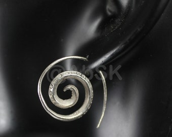 Thai KAREN HILL Tribe 98% Handmade SILVER 24mm Sprial DotDangle Earrings KE18