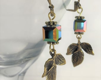 Bronze leaves and crystal cube earrings