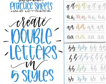Hand letter etsy 5 styles double letter practice sheets hand letter the alphabet lowercase learn modern calligraphy expocarfo Images