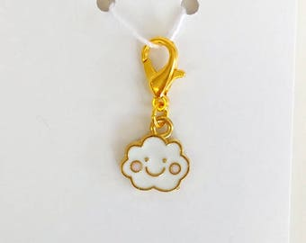 Smiley Cloud Progress Keeper, Knitting Marker, Crochet Stitch Marker, Removable Stitch marker, Zipper Pull for your Project Bag