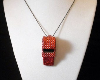 Red Rhinestone Covered Whistle Necklace