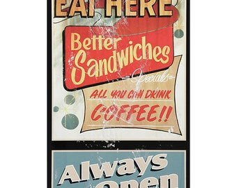 Eat Here Always Open Diner Wall Decal #42477