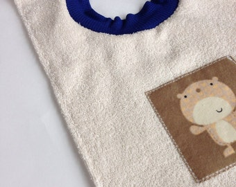 Cotton Terry Pullover Bib With Bear (6 months & up)