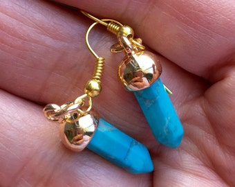Turquoise Spike Earrings, Gold and Turquoise, Blue Earrings,