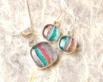 SALE Dichroic Sterling Silver .925 Fused Glass Pendant Necklace Earrrings ...matching set...
