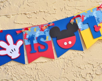 Mickey Birthday Banner, banner with name, Mickey themed banner