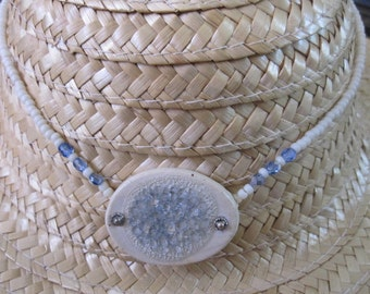 Sale Beach Glass Ice Blue Beach Jewelry Choker Necklace by Sweetpeacottage.etsy.com 14 inch