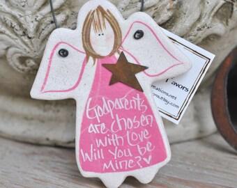 Godmother Gift Godfather Gift Godparent Proposal Christening Gift Godparents Salt Dough Angel Ornament