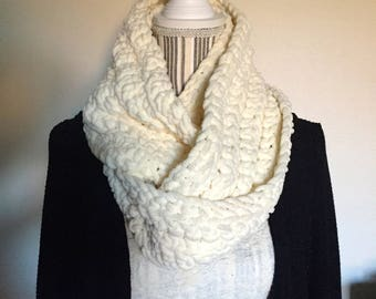 Scarf, Handmade Infinity Scarf, Crocheted Scarf, Warm Stylish Scarf, Comfy Beige Scarf, Fall Scarf, Winter Scarf, Birthday Scarf