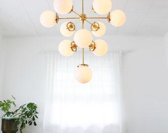 3 Tiered Globe Chandelier, 10 White Glass Bubble Globe Pendant Lighting Fixture, Modern Sputnik Brass Statement Chandelier by BootsNGus