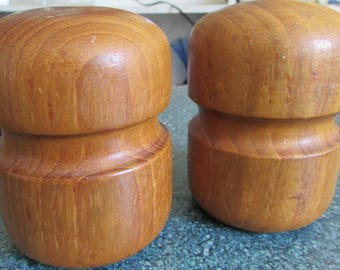 Vintage Selandia Design Short Teak Wood Salt & Pepper Shaker Set