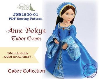 PDF Pattern #SS1530-01. Anne Boleyn Tudor Gown for A Girl for All Time dolls.