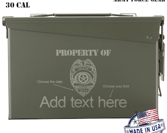 Police Officer Custom Engraved 30/50 Cal Ammo Can Personalized Dad Gift Cool Guy Gifts Father's Day Gift Grandpa Gift Retirement Hunter