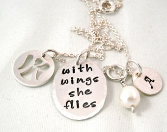 Memorial Necklace - With Wings She Flies - Personalized Necklace - Mothers Necklace - Memorial Necklace