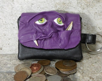 Coin Purse Zippered Change Purse Purple Black Leather Monster Face Pouch Key Ring 238