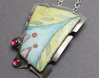 Enamel Pendant, One of a Kind Pendant, Artisan Jewelry, Enamel Necklace, Blue Green Pendant, Colorful Pendant, Kathy Bankston, Pendant