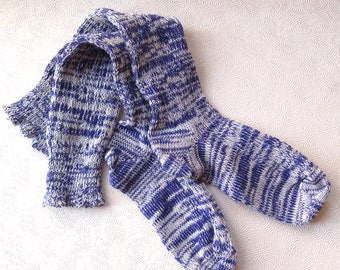 Purple Women's Boot Socks Knee High Socks Lavender Ivory Ragg Fashion CSM Handcranked Wool Cotton Blend Valentine Gift Custom Size Socks