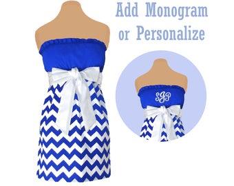 Blue + White Chevron Dress