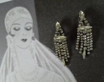 1950s-60s Art Deco Inspired Rhinestone Earring