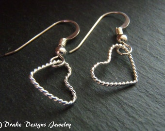 Sterling silver delecate twisted wire heart earrings - Valentines Day gift for her