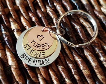 hand stamped 3 disc keychain personalized with choice of image