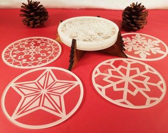 Christmas Table Coasters With Wooden Holder,Snowflake Clear Acrylic Table  Coasters,festive Drink Coasters