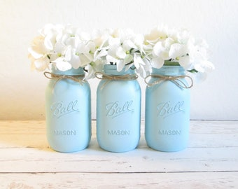 Light Blue Mason Jars - Painted Mason Jars - Mason Jars Wedding - Mason Jar Decor - Baby Shower Centerpieces