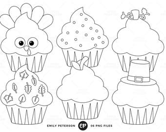 Thanksgiving Digital Stamps, Cupcakes Line Art, Holiday Cupcakes Clip Art - Commercial Use, Instant Download