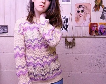 70s vintage scallop knit jumper pink, lilac and cream wavy knitted design