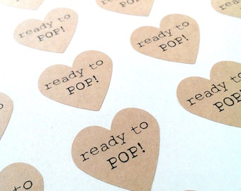 Ready to Pop! stickers - 24 - 1 1/2 inch heart sticker sheets - brown kraft heart stickers - baby shower envelope seals