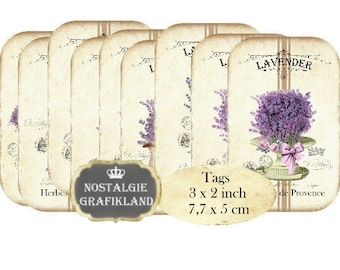 Lavender French Tags Provence Herbs Lavande Download digital collage sheet digital Tags Lavendula Perfume Soap T068